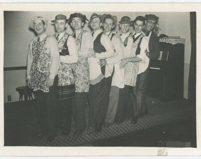 Men in Aprons, c1940s Vintage Snapshot Photo (78600)