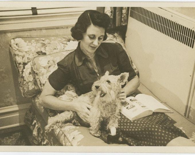 Vintage Snapshot Photo: Woman & Dog, 1943 (81636)