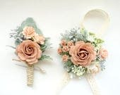 Dusty Rose Boutonniere and Corsage, Blush Wedding, Prom Corsage and Boutonniere Set, Rose Wrist Corsage, Rose Boutonniere