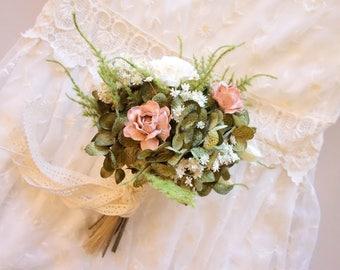 Bridesmaids Bouquet, Flower Girl Bouquet, Toss Wedding Bouquet, Blush Wedding Bouquet, Small Bridal Bouquet, Silk Flower Bouquet DUSTY ROSE