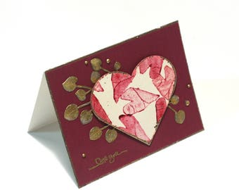 I love you card, romantic red hearts blank card, gold leaves note card, anniversary card