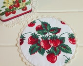 sweet vintage strawberries doily
