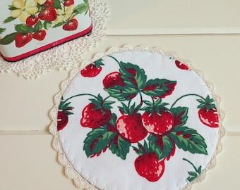 sweet vintage strawberries doily