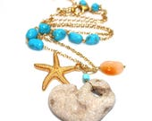 Eco Stone Necklace Heart Necklace Beach Necklace Stone Necklace Vintage Turquoise Necklace