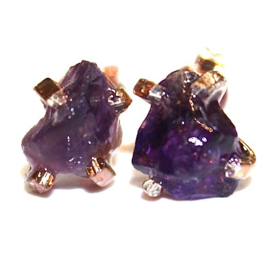 Raw Amethyst Stud Earrings in Rose Gold Vermeil