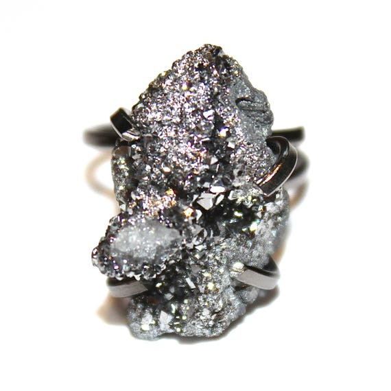 Silver Druzy Ring Bright Druzy Ring Drusy Ring Druzy Jewelry Sparkly Ring Raw Ring Adjustable Black Gold Ring Stone Ring Drussy Ring