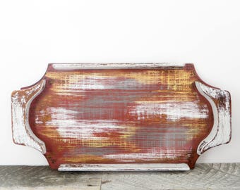 Funky Display Tray - Burgundy Gold Gray Multi Colored - Vintage Modern Decor