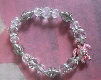 Red Sea Turtle Stretch Bracelet with Crystal and Metal Beads
