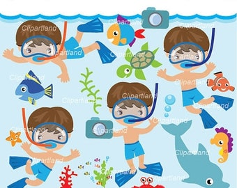 ON SALE INSTANT Download. Snorkeling boy 2. Personal and commercial use.