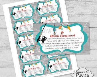 Matching Fishing Book Request Insert for Baby Shower Printable PDF File - Instant Download