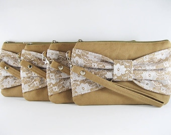 SUPER SALE - Set of 6 Tan Lace Bow Clutches - Bridal Clutches, Bridesmaid Wristlet, Wedding Gift, Cosmetic Bag, Zipper Pouch - Made To Order
