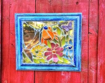Mosaic mirror, flower wall decor, mosaic wall art on wood, framed garden art, Rustic wall art, A Special Moment