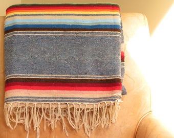 Vintage Serape Saltillo Woven Blanket - Vintage Southwest Blanket - Boho Decor - Vintage Mexican Wool Blanket