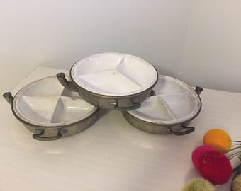SERVING DISHES, WARMING Dishes, Silver & Porcelain w/Spout and Handles, 3 Ironstone Warming DIshes, Farmhouse, Haunting at Ageless Alchemy
