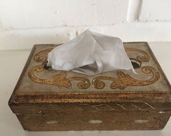 "FLORENTINE GOLD GILT Tissue Box, Pocket Tissue Box, 5.5"" x 3.5"" x 2"", Italian Gold Gilt, Gold Leaf Tissue Box, Regency  at Ageless Alchemy"