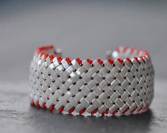 Sparling White and Red, Herringbone stitch, Half Tila, Czech Glass beads, Handstitched cuff, Half Tila Bracelet