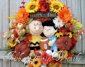 Peanuts Lucy and Charlie Brown Fall Football Wreath, Fall floral, Autumn Sunflower floral decor, Tweed Pumpkin, Peanuts Gang, Peanuts Wreath
