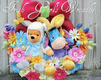 Winnie the Pooh and Eeyore Easter Wreath, Disney Easter Wreath, plush Lamb Pooh, Bunny Pajamas Eeyore, Gerber Daisy, Hydrangea