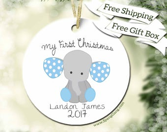 1st Christmas Ornament | My First Christmas | Baby Boy Ornament | Baby Elephant Ornament | Baby Gift | Custom Ornament | Christmas Gift F05