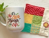 Little Things Mug and Quilted Coaster Gift Set