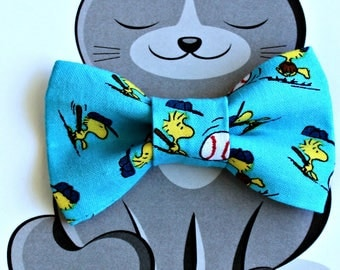 Woodstock Baseball Bow Tie for Cat, Dog Bowtie, Pet Clothing, Slide on Collar Accessory, Pet Bowtie, Handmade in Canada, Peanuts, Blue