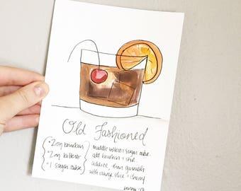 "Signature Drink Recipe Art Print 8x10"" - Signature Cocktail Recipe Art Print -  Recipe Art - Bar Cart Print - Old Fashioned"