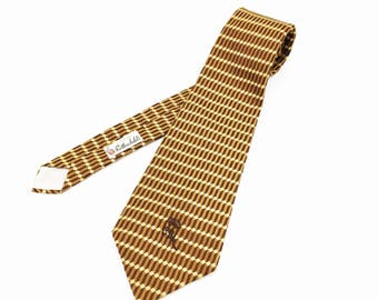 1970s COUNTESS MARA Tie Mens Vintage Wide Necktie with woven geometric designs by Countess Mara New York for Rothschild's