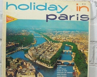 ON SALE Holiday in Paris. Vintage Record Album. Circa 1960's to 1970's.  33 1/3 Long Playing Record.La Mer. Histooire D'Amour. Gamin De Pari