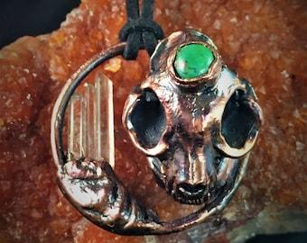 Replica Cat Skull with Green Chrysocolla and 3 Quartz Shards