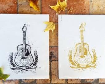 Fender Acustic Guitar- Handprinted block print