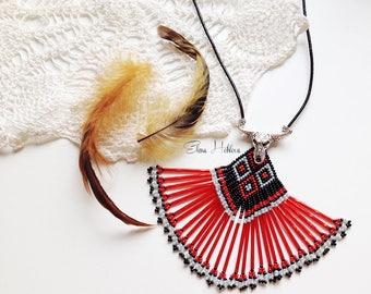 native american, beaded pendant,  ethnic pendant,  tribal pendant,   bead pendant,   boho pendant,   fringe pendant,   beadwork jewelry