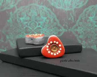Red Silver Bronze Ivory Polka Dot Polymer Heart Bead - Bohemian Romance Earring Bead Pair - 14x14mm - Pkg. 2