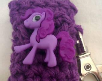 Purple Pony Lip Balm Holder - Pony Chapstick Case -  Lanyard Lip Balm Cozy - Gifts for Her - Stocking Stuffer