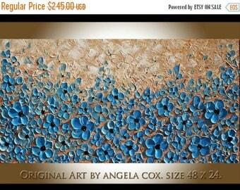 SALE Original Modern  Blue Flowers Impasto Textured palette  Knife   Blue Beige Wall Art Floral  Painting.  Made2Order Size 48 x 24..