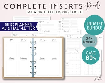 A5 and Half-Letter Size COMPLETE Inserts Bundle for Ring Planners - Printable PDF - Script Theme - 34+ layouts