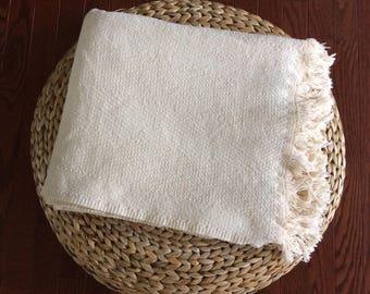 vintage woven Eddie Bauer natural throw blanket