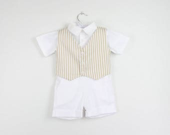 Boys outfit - White short sleeve shirt, Beige stripe vest  and white shorts - Vest also available in red and navy stripes