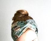 Floral green turban headband, twisted center turband, twisted headband, yoga headwrap, jersey head wrap yogi bohemian gipsy head accessory