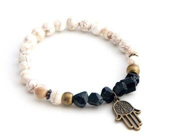 Black tourmaline bracelet, magnesitebracelet, beaded bracelet, gemstone bracelet, hamsa bracelet, tourmaline stones, handmade