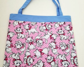 Pink Cats Tote Bag Trick or Treat Bag Girl Craft Bag Girls Library Bag Girls Book Bag Easter Basket