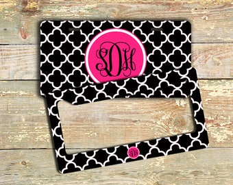 Unique gift for sisters, Monogram license plate or frame, Black white clover pattern hot pink, Pretty vanity car tag, personalized (9756)