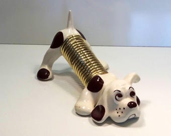 "Vintage Puppy Dog Miramar California pottery letter holder 8"" long"