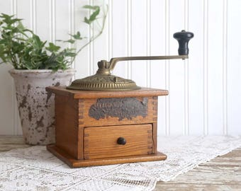 Antique Imperial Coffee Mill 147, Vintage Coffee Grinder, Wood Coffee Grinder, 1800s, farmhouse kitchen decor, country kitchen decor
