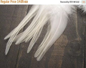 CLOSING OUT SALE 9 White Rooster Saddle Feathers ~ Cruelty Free