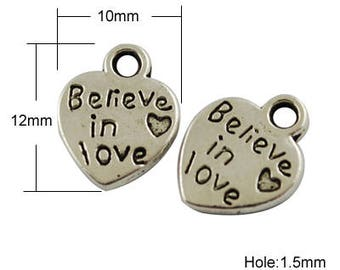 Silver Heart Charms Silver Charms Word Charms Quote Charms Believe in Love Charms Message Charms BULK Charms Wholesale Charms 25 pieces