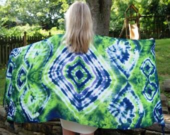 NEW! Beautiful Tie Dye Pashmina Shawl/Scarf, Summerweight Tie Dye Shawl in Blue, Green, Purple and White, Boho Pashmina Scarf, Rayon Scarf