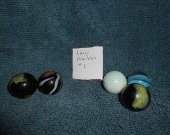 """Five Large """"Shooters"""" Glass Playing Marbles-#1"""