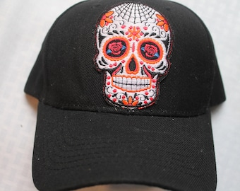 Baseball Cap with Sugar Skull web Embroideried