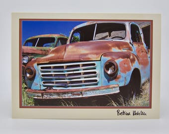 "New Mexico Rusty Trucks - Folded 5""x7"" Greeting Card"