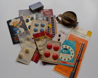 Sewing Notions, VINTAGE 1940s, Button Cards, Needle Card, Sewing Gauge, Hem Marker, etc.